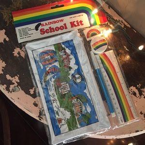 Vintage Rainbow Pencil Case Pouch Kit